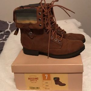 Brown fold-down combat boots